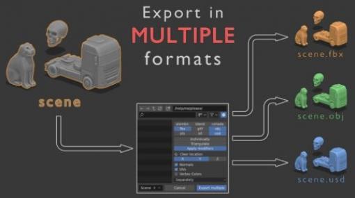Export in multiple formats 3D model - 複数形式で一気にエクスポート出来るBlenderアドオン!