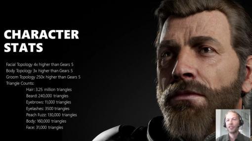 『Gears of War 5』の開発会社がXbox Series Xを使ったUnreal Engine 5の技術デモ動画を公開。「MetaHuman」技術で作られたキャラクターのまつげのポリゴン数はXbox 360のキャラクター1体分