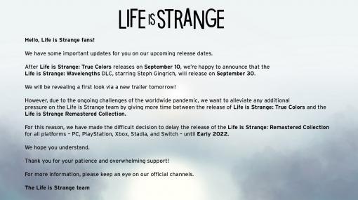 「Life is Strange Remastered Collection」の発売時期が2022年初頭に延期