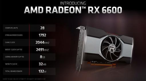 AMD,新型GPU「Radeon RX 6600」を発表。GeForce RTX 3060に挑戦するNavi 2X世代のエントリー〜ミドルクラスGPU